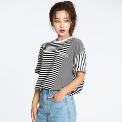 STRIPE MIX OVERFIT TEE BLACK
