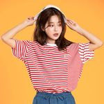 STRIPE MIX OVERFIT TEE RED