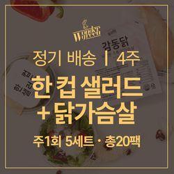 [무료배송] 4주 식단 - 한컵샐러드+감동닭 5세트x4주(총20세트)+소스포함