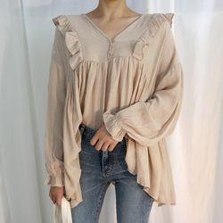 Unbalance frill blouse