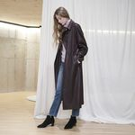 SUEDE DOUBLE TRENCH COAT WINE