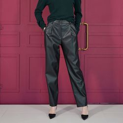FAKE LEATHER BAGGY PANTS BLACK