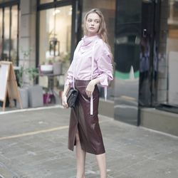 LAMB SKIN LEATHER SKIRT WINE