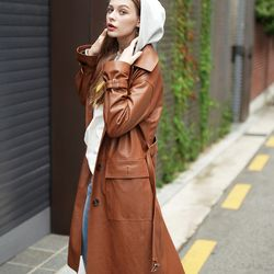 LAMB SKIN SINGLE TRENCH COAT CAMEL