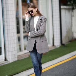 TWO-BUTTON CHECK JACKET BEIGE