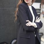 TWO-BUTTON SOLID JACKET NAVY