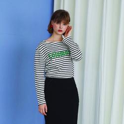 Columnist Stripe T - Black