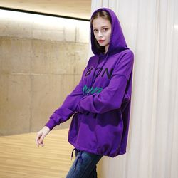 EMBROIDERY LETTERING HOOD T-SHIRT VIOLET