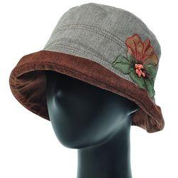 [더그레이]EKU15.쉬폰꽃 배색 여성 벙거지 모자