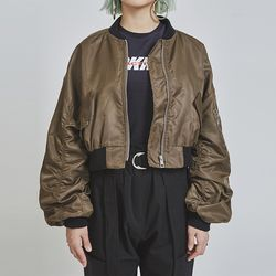 crop bomber jacket (2 color)