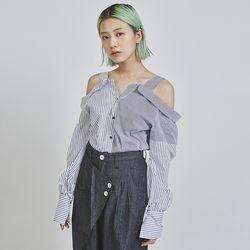 stripe off shouler blouse (2 color)