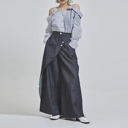 wrap indigo denim wide pants