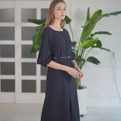 CLASSIC RUFFLE DRESS NAVY
