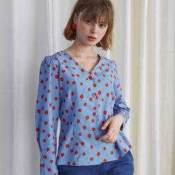 Dot Puff Shoulder Blouse - Blue