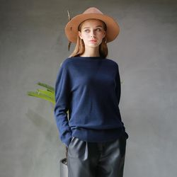 HOLE-GARMENT ROUND KNIT NAVY