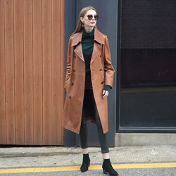LAMB SKIN DOUBLE TRENCH COAT CAMEL