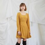 Yellow Puff Shoulder Dress