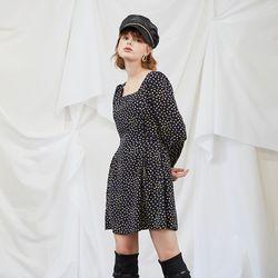 Navy Dot Puff Shoulder Dress