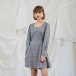 Check Puff Shoulder Dress