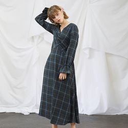 Check Long Flare Dress