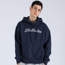 EMBROIDERY PULL OVER HOODIE (NAVY)
