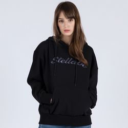EMBROIDERY PULL OVER HOODIE (BLACK)