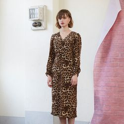 Midi Shirring Dress - Leopard