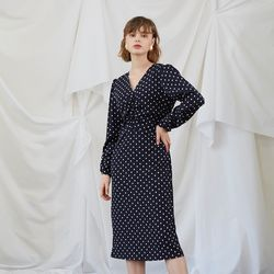 Midi Shirring Dress - Dot