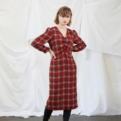 Midi Shiring Dress - Check