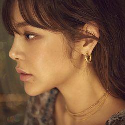[고급섬유향수 증정] Midnight Sun Small Braid Hoop Earrings