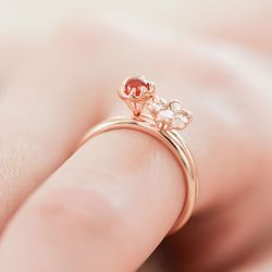 [14k]천연커넬리언 반지 기념일선물 라넌오렌지