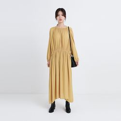 silk shirring long one-piece (2colors)