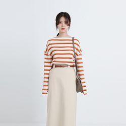 rainbow stripe off tee (2colors)