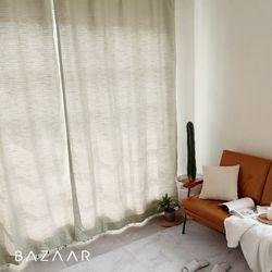 루이즈 멜란지 핀형 방염커튼(창문형140x170)2장+끈