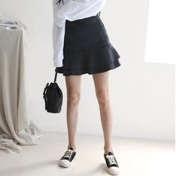 Frill Denim Mini Skirt
