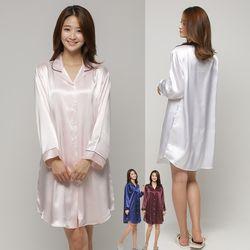 쁘띠쁘랑밀라노실크 셔츠원피스잠옷 4색상중택1