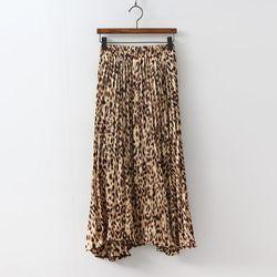 Leopard Pleats Long Skirt