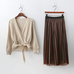 [Set] Wrap Cardigan + Twinkle Pleats Skirt