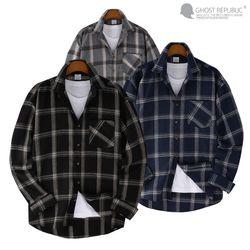 오버핏 타탄 체크 포켓 긴팔 셔츠 MSH-555