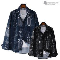 오버핏 스페이스 프린팅 긴팔 셔츠 MSH-559