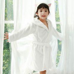 [엔비키즈] 아동 샤워가운 극세사화이트 목욕가운 샤워타올