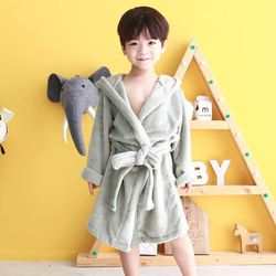 [엔비키즈] 아동 샤워가운 극세사그레이 목욕가운 샤워타올