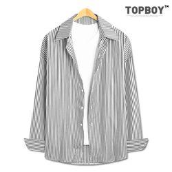 [탑보이] 잔스트라이프 오버핏 긴팔셔츠 (HE001)