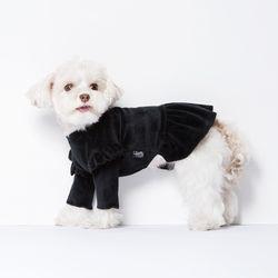 벨벳 프릴 드레스 (블랙) XL