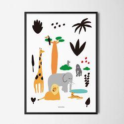 유니크 디자인 포스터 M 세렝게티의 친구들 A3(중형)