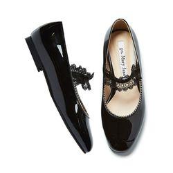 Lace beads flat shoes black