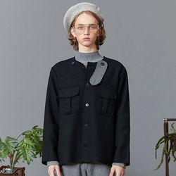 no collar half coat (black)
