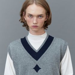 RC lambs wool knit vest (gray)