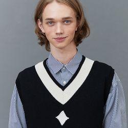RC lambs wool knit vest (black)