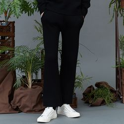 RC lambs wool knit slacks (black)